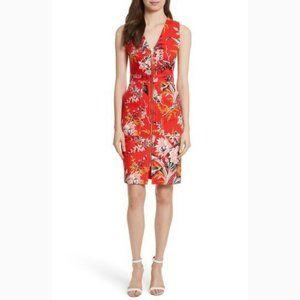 NWT DVF Floral Zip Front Stretch Sheath Dress 8